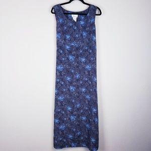 Vtg long blue floral dress -Lisa Jo - 15/16
